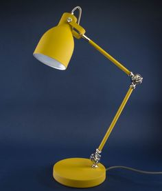 Our floor & table lamp collection is perfect for any industrial stylist. All great for making a lighting statement and adding ambience to your interiors. Bedside Lamps Yellow, Bedroom Wallpaper Flowers, Mustard And Grey Bedroom, Yellow Desk, Yellow Table, Desk Lamp, Table Lamp, Buy Lamps, Bedroom Organization Diy