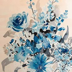 Seattle-based textile and surface designer Anne Marie Jackson  A trip to #England wouldn't be quite right without a #rose #painting thanks for the tips and tricks @jesspriest77 everyday's a school day -  -  -  #wip #watercolor #watercolorpainting #blues #bouquet #botanical #freelance #designer #textiledesign #surfacedesign #artist #seattleartist #london