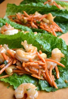 Shrimp Lettuce Wraps- this looks yummy! Need to be creative with seasoning, as soy sauce is out