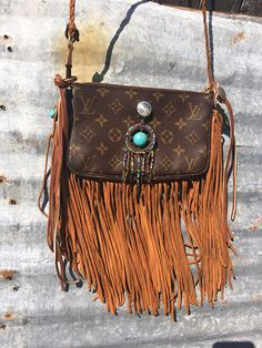 LV Louis Vuitton Upcycled BOHO leather fringed Indian conch Dreamcatcher  shoulder bag Hippie Style Authentic LV 272688e1da8d3