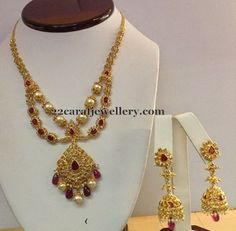 Jewellery Designs: Pearls Embellished 2 Step Necklace
