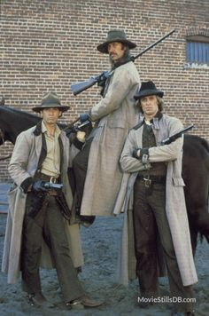 THE LONG RIDERS - Robert Carradine as 'Bob Younger' (left) & David Carradine on horseback as 'Cole Younger' - Keith Carradine as 'Jim Younger' (right) - Directed by Walter Hill ('Geronimo: An American Legend' - 'Wild Bill') - United Artists. Hollywood Stars, Old Hollywood, Billy The Kid, Old Western Movies, Cowboy Up, Cowboy Baby, Tv Westerns, The Lone Ranger, Le Far West