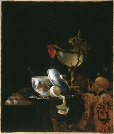 Still Life with Chinese sugarbowl, Nautilus cup, Glasses and fruit ca1675-1700 After Willem Kalf