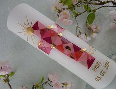 Taufe Taufkerzen Taufkerze Taufkerze Kreuz Junge Mädchen Mosaik gold pink NEU