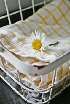 Daisy yellow kitchen towels