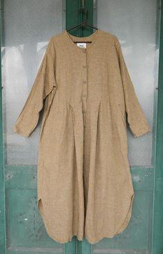 FLAX Engelhart Basic 1997 Cut Up Dress -L- Warm Check Linen #FLAX #Duster #Casual
