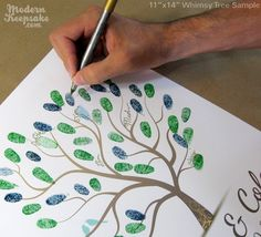 a new kind of guest book -- everyone puts their thumbprint on it and makes a tree. so cute!