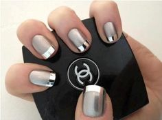 I'm not usually a fan of non-traditional french manicure ideas, but the silver/chrome tips here combined with the matte gray is STUNNING.