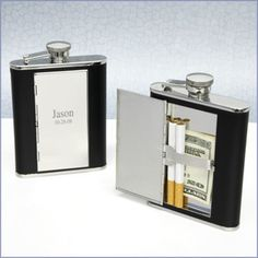 Black Leather Hip Flask with Cigarette Case. Available at My Groomsmen Gifts (www.mygroomsmengifts.com).
