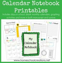 This FREE Calendar Notebook Printable from Homeshcool Creations  includes the following:     	12 undated monthly calendars {you can