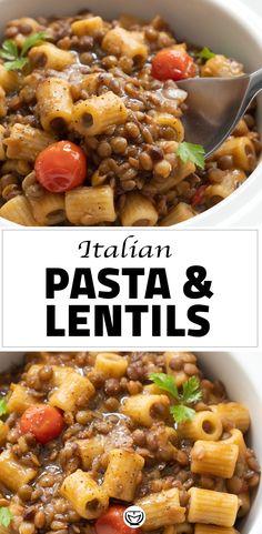 Lentil Recipes, Veggie Recipes, Beef Recipes, Dinner Recipes, Cooking Recipes, Veggie Food, Cooking Tips, Healthy Italian Recipes, Italian Pasta Recipes