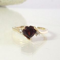 Vintage Garnet And Diamond Engagement Ring 10K Yellow Gold Size 7 1/4 Heart Shape Red Garnet Bridal Wedding Jewelry