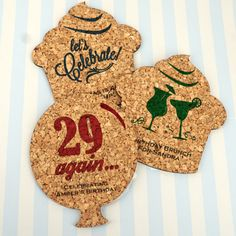 Add a cute and classic touch to your upcoming birthday celebration with our Personalized Birthday Theme Shaped Cork Coasters Birthday Themes For Adults, Personalized Coasters, Cork Coasters, Birthday Celebration, Gingerbread Cookies, Icon Design, More Fun, Balloons, Brunch