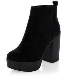 def42ea5c14a New Look Black Suedette Chunky Block Heel Chelsea Boots - Soft suedette  finish- Block heel