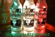Corona Extra Beer Bottle Light 3 Pack Frosted Glass Green, White and Red lights, Corona Beer Lamp, Corona Beer Light, Corona, Mexican Flag Beer Bottle Lights, Lighted Wine Bottles, Corona Extra, Corona Beer, Sonoma County California, Small Plastic Bags, Tiki Decor, Red Lights, Black Vase