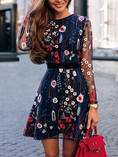 Floral Embroidery Mesh Sleeve Casual Mini Dress
