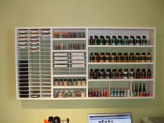 I love this organizer for her scrapbooking ink pads and other hard to store items.