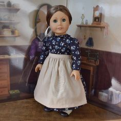 1880s Dress in Navy Blue Floral for 18 inch doll by kgabor19