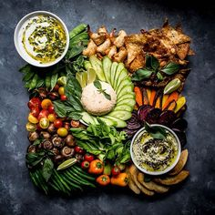 Thai Inspired Crudite Platter With 3 Dips  via @feedfeed on https://thefeedfeed.com/c.r.a.v.i.n.g.s/thai-inspired-crudite-platter-with-3-dips