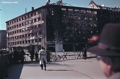 Remnants of the Gestapo headquarters in Copenhagen (Shellhuset), after being bombed by the RAF. Denmark, 1945