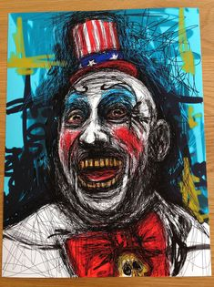 """Large 12""""x16"""" Signed and numbered giclée art print of my original painting of 'Captain Spaulding ' This will be a strictly limited print run of 25. Professional giclée art p..."""