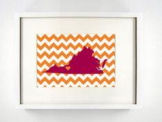 Blacksburg, Virginia State Glicée Print - 8x10 - Maroon and Orange University Print