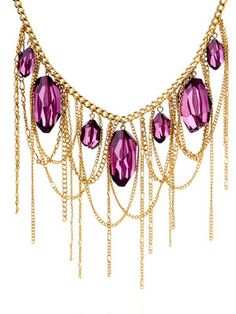 "Purple Reign (jewelry.hsn.com, $17): Tori Spelling Stone Drop Chain Fringe 18"" Bib Necklace"