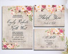Einladung Set Hochzeit Einladung Pink Floral Rustikale Aquarell Set/Suite  Speichern Dateien Das Datum RSVP Danke Karten Druckbare Digitale