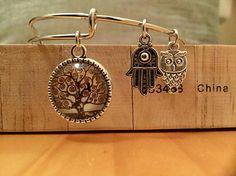 Tree of life charm bracelet w/hamsa and owl charms Owl Charms, Tree Of Life Pendant, Hamsa, Etsy Jewelry, Types Of Metal, My Etsy Shop, Pouch, Charmed, Bracelets