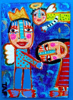 Tracey Ann Finley Original Outsider Raw Folk ACEO Painting BOWING TO ANGEL KING #OutsiderArt