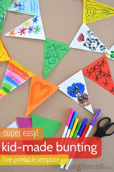 super easy kid-made bunting - with a free printable template from @katepickle