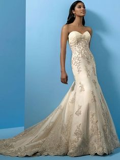 Wedding Formal Dresses,Wedding dresses on sale, Trumpet Sweet-Heart Neckline Beading Appliqué Court Train Tulle Bridal Gowns
