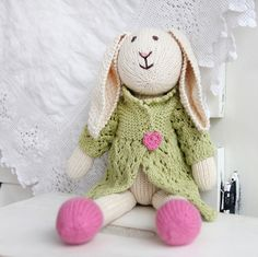 Adorable and organic hand-knit bunny!