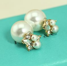 New Romantic Celebrity Crystal Big Pearl Beads Plug Earrings Stud Earring Ear Studs Pin Earring Jewelry Free Shipping