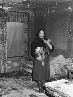 'Little Edie' and 'Big Edie' resided with 58 cats in the ramshackle home by the time they met Albert and David Mayles, who directed the documentary Grey Gardens (circa 1975 photo)