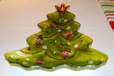 """FUSED GLASS Green Christmas Tree PLATTER 11"""" Serving Dish Tray Bowl Holiday"""