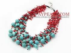 Fabulous Multi Strand Coral and Turquoise Neckalce by MattPettus