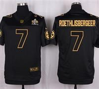 Nike Pittsburgh Steelers #7 Ben Roethlisberger Black Men's Stitched NFL Elite Pro Line Gold Collection Jersey
