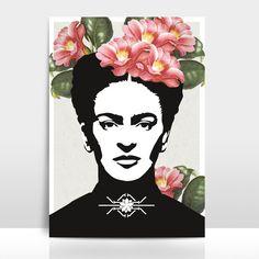 Lámina retrato Frida #Deco #handmade #hechoamano #diseño #DaWanda
