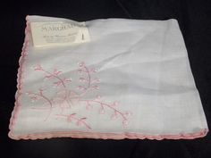 LOVELY MARGHAB  HANDKERCHIEF HAND MADE IN MADEIRA w/ TAG WHITE w/ PINK EMBROIDER