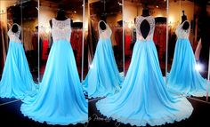 Aqua Chiffon Floating Prom or Pageant Dress-Beaded High Neckline-Key Hole Back-115BP0099170479 at Rsvp Prom and Pageant, Atlanta, GA