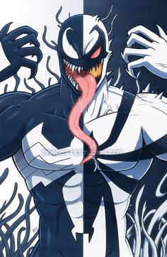 Venom - Two Sided Symbiote by marcotte on DeviantArt Venom Comics, Marvel Comics Art, Spiderman Art, Amazing Spiderman, Marvel Villains, Marvel Heroes, Anti Venom Marvel, Thanos Avengers, Symbiotes Marvel