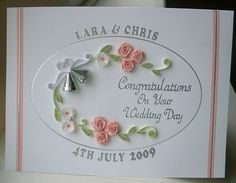 Quilled wedding card, congratulations, handmade greeting, personalized names and date