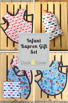 The perfect baby gift - fun and practical! Parents love the bapron for its full coverage that stays in place and our pouch pocket means that it actually catches food. This ocean themed infant gift set includes two baprons - pirate sea creatures and crab