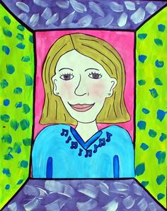 Self Portraits elementary art lesson in a frame