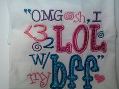 Check out OMGosh BFF Sparkly Shirt Pink Blue Colorful, Applique, Embroidery Short Long Sleeves Sweatshirt Hoodie on fabuellaboutique