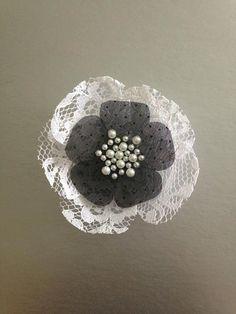 Black and white handmade bridal fabric flower by HandmadeByAnastasia