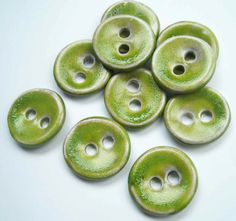 Lime Kissed Ceramic Buttons by buttonalia on Etsy, $20.00
