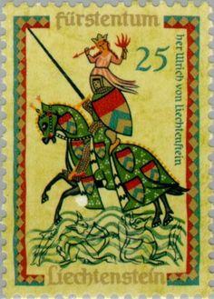 Sello: Medieval singers (Liechtenstein) (Medieval singers) Mi:LI 407,Yt:LI 360,Zum:LI 350