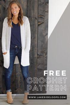 Crochet Cardigan Pattern Free Women, Knit Cardigan Pattern, Crotchet Patterns, Ladies Cardigan Knitting Patterns, Crochet Coat, Crochet Winter, Crochet Clothes, Crochet Sweaters, Crochet Jumpers